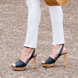 L.K. Bennett 'Damson' navy cork sole sandals